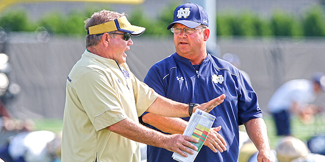 Brian Kelly and Harry Hiestand of Notre Dame